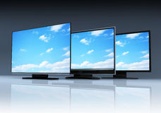 Three modern TV Stock Photography
