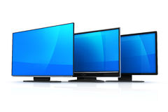Three modern TV Stock Images