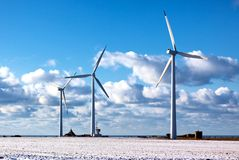 Three modern windmills Royalty Free Stock Photo