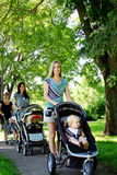 Three Mom's walking in park with children Royalty Free Stock Photography