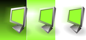 The three monitors. The three crazy green monitors Stock Image