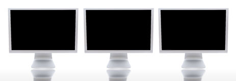 Three monitors of computers. A over white background Stock Photo
