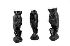 Three monkeys. As of a craftsman done which cannot see, hear and smell royalty free stock image
