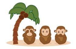 Three monkeys. Three little monkeys cute illustration Royalty Free Stock Photos