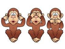Three monkeys. Illustration of cartoon Three monkeys - see, hear, speak no evil Stock Photo