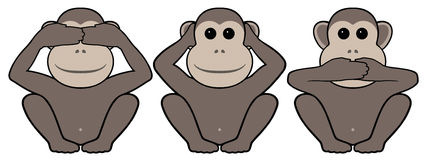 Three monkeys. Something from east philosophies: I don't see, I don't hear, I don't speak Royalty Free Stock Photos