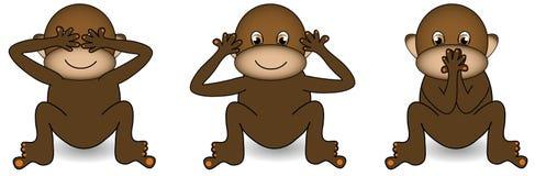Three Monkeys. See no evil,hear no evil,speak no evil monkey Stock Photography
