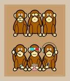 Three monkeys. Clasic three monkeys and three monkeys with modern technology Stock Photo
