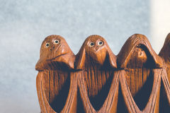 Three monkeys hear, see and speak no evil Stock Images