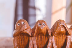 Three monkeys hear, see and speak no evil Stock Image
