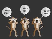 The three monkeys i do not see i can not hear i do not speak Royalty Free Stock Image
