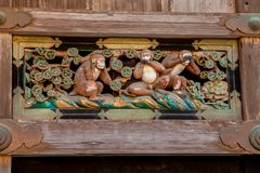 Three monkeys no speak, no hear, no see stock image