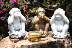 Three Monkeys  - no speak, no see, no hear Royalty Free Stock Image