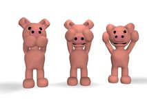 Three monkeys ... piglets Royalty Free Stock Images