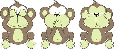 Three monkeys saying. See No Evil, Speak No Evil, Hear No Evil Stock Photo