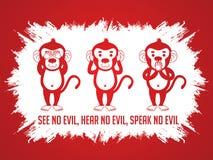 Three monkeys SEE  HEAR SPEAK. Three monkeys. SEE no evil, HEAR no evil, SPEAK no evil graphic vector Royalty Free Stock Photography