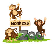 Three monkeys in the zoo. Illustration Stock Photo