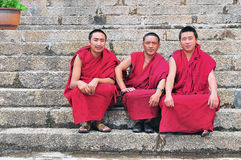 Three monks in Tibet Stock Photography