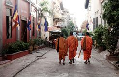Three monks stock photos