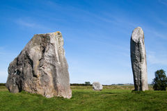 Three Monoliths from Avebury Stone Circle. Three of the many huge monoliths in the neolithic stone circle at Avebury, Wiltshire, uk Stock Photo