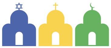 Three monotheistic religions stock illustration