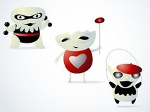 Three monsters are children. Jumping on a rope, holding dumbbells and with the heart of love. Characters with emotions of joy Stock Image