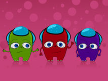 Three monsters. Illustration of three cute monsters, aliens Stock Photography