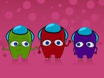 Three monsters. Illustration of three cute monsters, aliens vector illustration