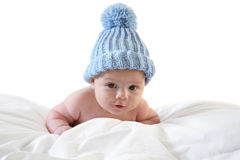 Three month baby with cap. Studio shot Royalty Free Stock Photography