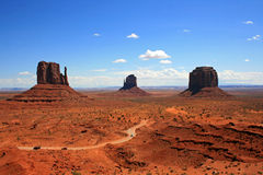 Three monuments in Monument Valley Royalty Free Stock Image