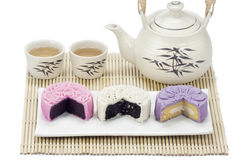 Three mooncake with tea. Royalty Free Stock Photos