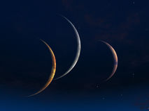Three moons Royalty Free Stock Image