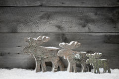 Three mooses or elks on a grey wooden background Royalty Free Stock Photos