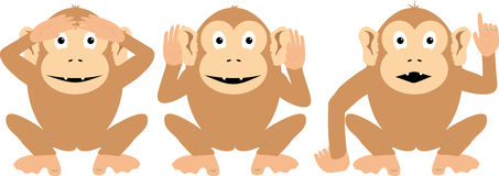 Three More Wise Monkeys. Vector graph of the Three Wise Monkeys with some changes royalty free illustration