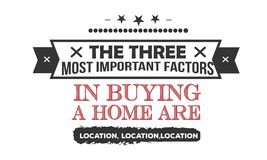 The three most important factors in buying a home are location,location,location. Quote stock illustration