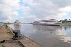 Three motor ships Royalty Free Stock Images