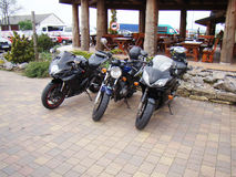 Three motorcycles sport bike Royalty Free Stock Images
