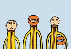 Three motorcyclists with helmets. A vector illustration Royalty Free Stock Photos