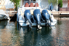 Three motors for boat Stock Photography
