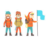 Three mountain climbers with mountain climbing equipment, colorful characters vector Illustration Stock Photography