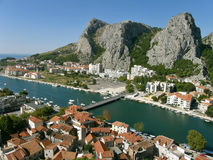 Three mountain peak in Omis 2. Aerial view - three mountain top, and Omis Cetina River have always been known for pirates and today the city is ideal for summer royalty free stock image