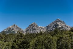 The three sisters, mountains in the Nahuel Huapi National Park at the Chile-Argentina border stock photos