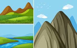 Three mountain scenes with river and field Stock Photography