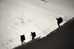 Three mountaineers walking across Mont Blanc high mountain range Stock Image