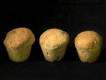 Three muffin breads in a row Royalty Free Stock Photography