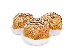 Three muffin isolated on a white Royalty Free Stock Images