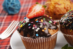 Three muffins Stock Photography