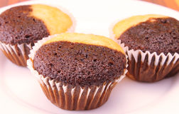 Three muffins closeup Royalty Free Stock Image