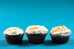 Three muffins with vanilla and sweet sugar topping Royalty Free Stock Photography