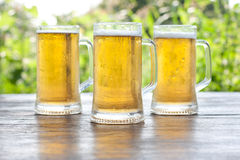 Three mug of beer Stock Photography